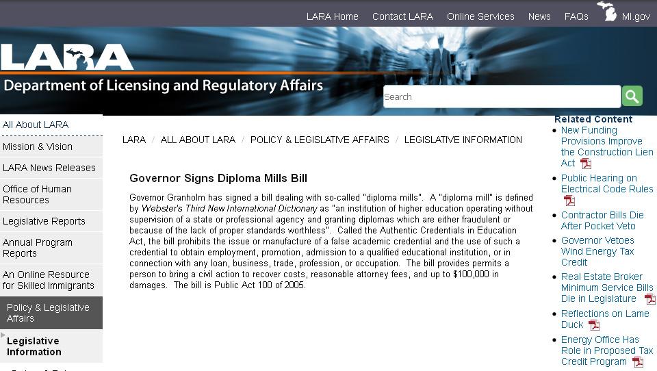 Michigan Governor Signs Diploma Mills Bill